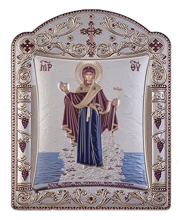 "Mount Athos Virgin Mary - Silver Greek prayer Icon - burgundy ""ΤΟ ΠΕΡΙΒΟΛΗ ΤΗΣ ΠΑΝΑΓΙΑΣ"""