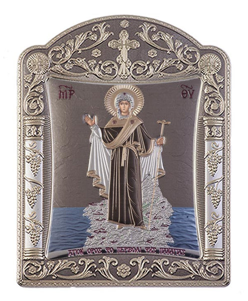 Mount Athos Virgin Mary Silver Greek prayer Icon, Grey 11.3x15.2cm