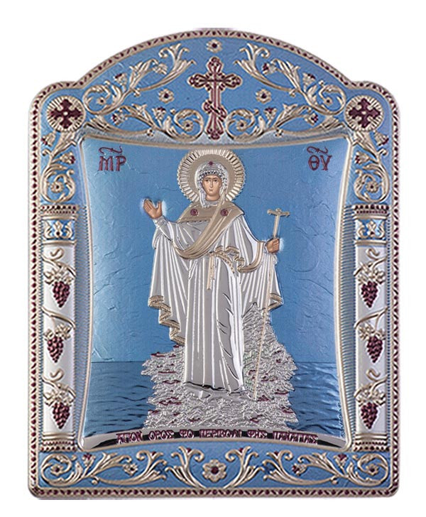 Mount Athos Virgin Mary Greek Orthodox icon art, Blue Ciel 22.7x30.5cm