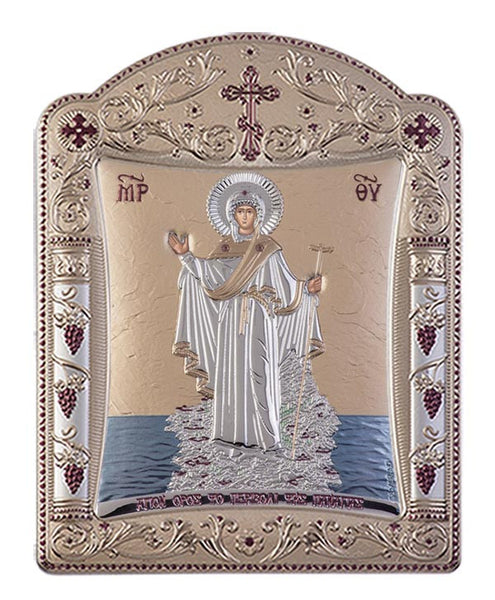 Mount Athos Virgin Mary Greek Orthodox icon art, Gold 22.7x30.5cm - Handmade with love from Greece