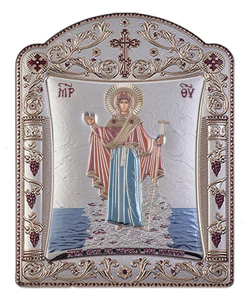 Mount Athos Virgin Mary Greek Orthodox icon art, Red & Blue 22.7x30.5cm