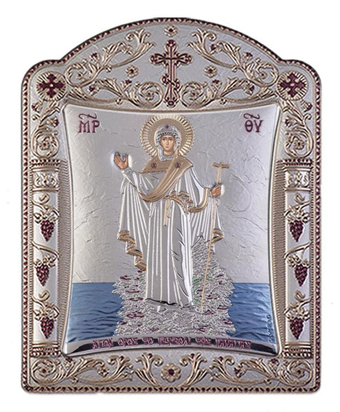 Mount Athos Virgin Mary Greek Orthodox icon art, Silver 22.7x30.5cm - Handmade with love from Greece