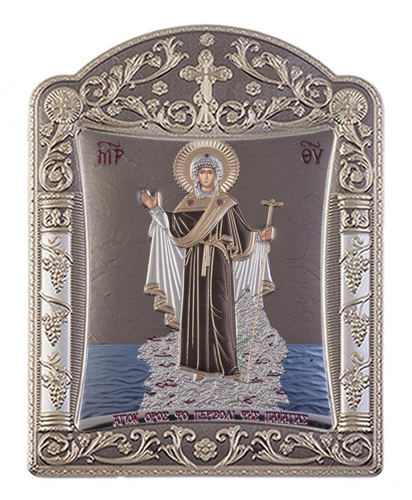 Mount Athos Virgin Mary Silver Byzantine Orthodox Icon, Grey 16.7x22.4cm - Handmade with love from Greece