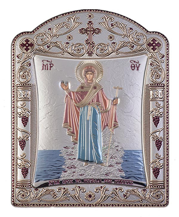Mount Athos Virgin Mary Silver Byzantine Orthodox Icon, Red & Blue 16.7x22.4cm