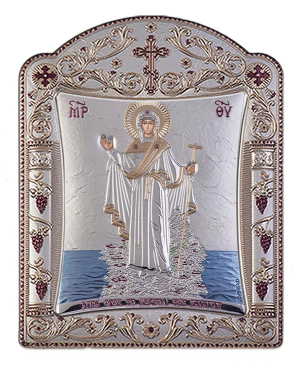 Mount Athos Virgin Mary Silver Greek prayer Icon, Silver 11.3x15.2cm