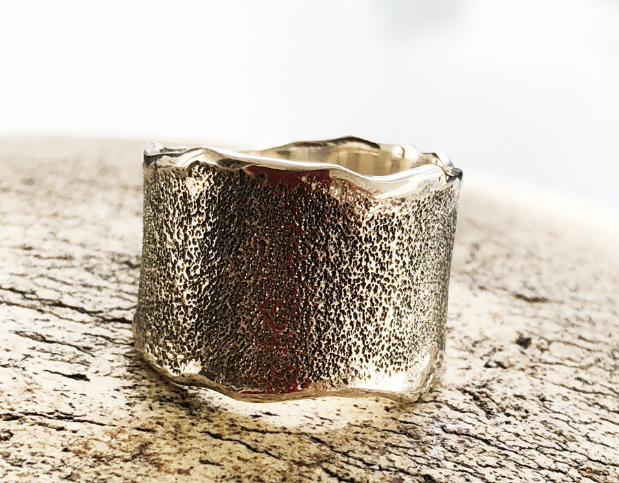 Oxidised Rustic textured wide band, wide silver ring, oxidised rough band