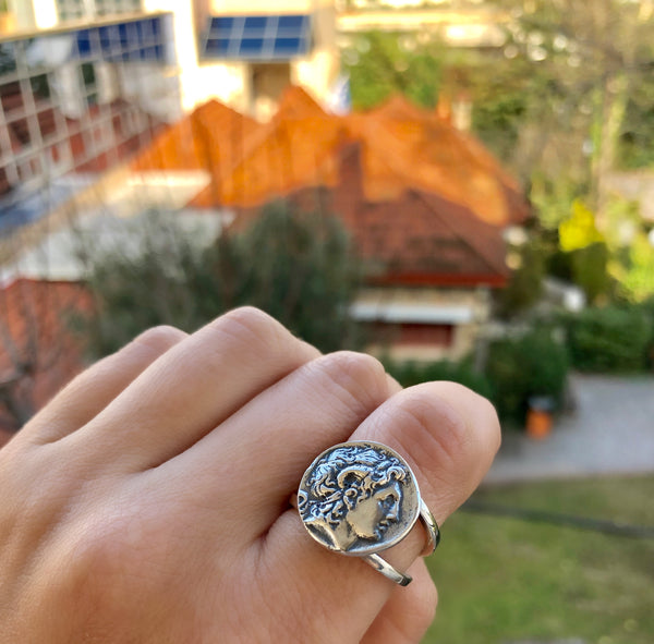 Alexander the great ring, Alexander coin ring, Alexander the great jewelry - Handmade with love from Greece