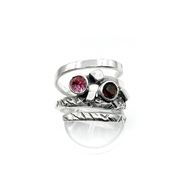 spiral silver ring with stones, silver adjustable ring, modern ring