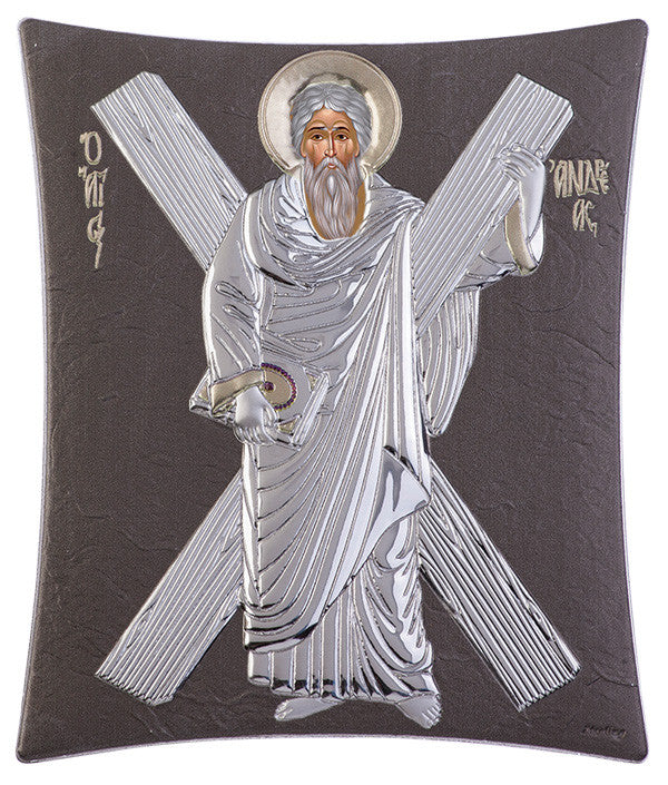 Saint Andrew Greek Christian Orthodox Silver Icon, Grey 11.8x14.6cm