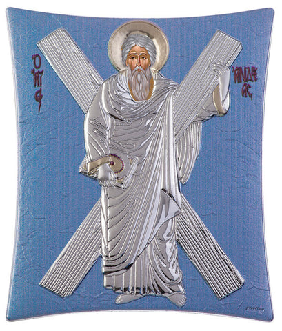 "Saint Andrew Silver Greek Orthodox Icon, Blue Ciel - Made in Greece - ""ΑΓΙΟΣ ΑΝΔΡΕΑΣ"""