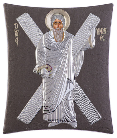 "Saint Andrew Silver Greek Orthodox Icon, Grey - Made in Greece - ""ΑΓΙΟΣ ΑΝΔΡΕΑΣ"""