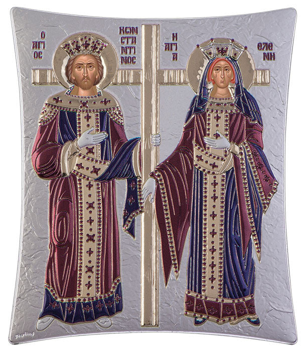 Saint Constantine and Helen, Greek Orthodox online Shop, Burgundy 20.6 x 25.5cm
