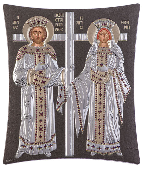 Saint Constantine and Helen, Greek icons for sale, grey 16 x 20cm