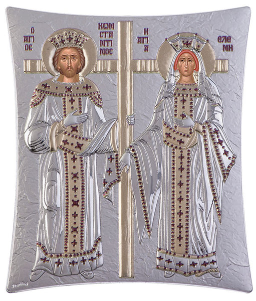 Saint Constantine and Helen, Greek icons for sale, Silver 16 x 20cm