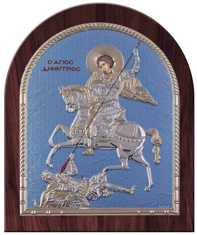 Saint Dimitrios Greek Orthodox Silver Icon, Blue Ciel