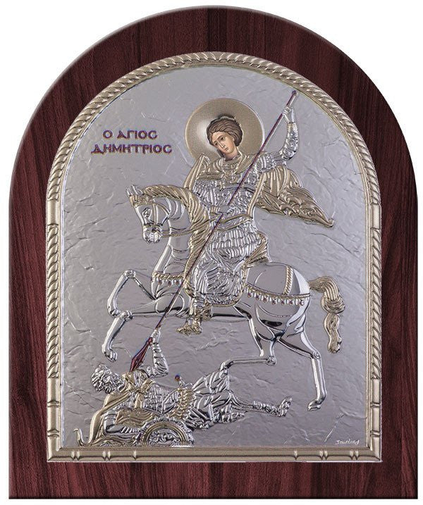 Saint Dimitrios Byzantine Greek Orthodox Icon, Silver - Made in Greece Άγιος Δημήτριος