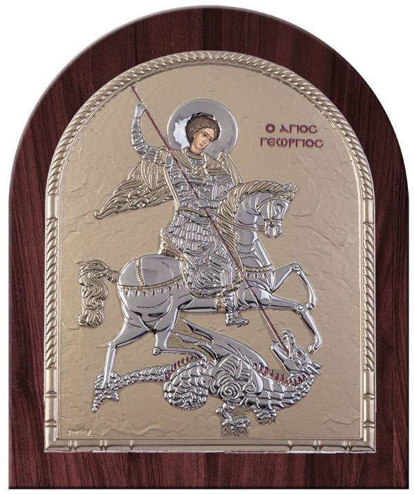 Saint George Silver Greek Orthodox Icon, Burgundy Byzantine religious icon Άγιος Γεώργιος