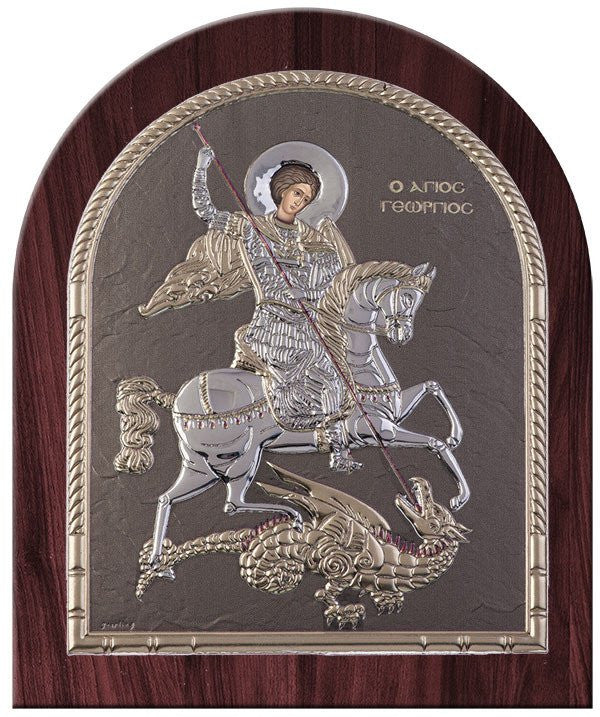 Saint George Silver Greek Orthodox Icon, Grey shimmering Byzantine religious icon Άγιος Γεώργιος