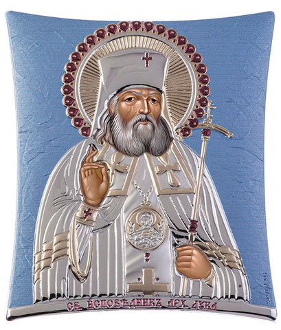 "Saint Lucas - Eastern Orthodox Iconography, Blue Ciel Russian holy icon - Made in Greece - ""ΑΓΙΟΣ ΛΟΥΚΑΣ"""