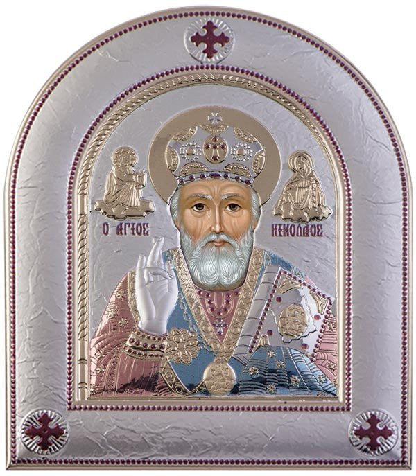 Saint Nicholas Silver Greek Orthodox Icon, Red & Blue - Made in Greece Άγιος Νικόλαος