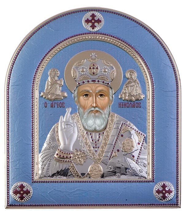 Saint Nicholas Silver Greek Orthodox Icon, Blue Ciel  - Made in Greece Άγιος Νικόλαος