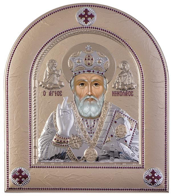 Saint Nicholas Silver Greek Orthodox Icon, Gold  - Made in Greece Άγιος Νικόλαος