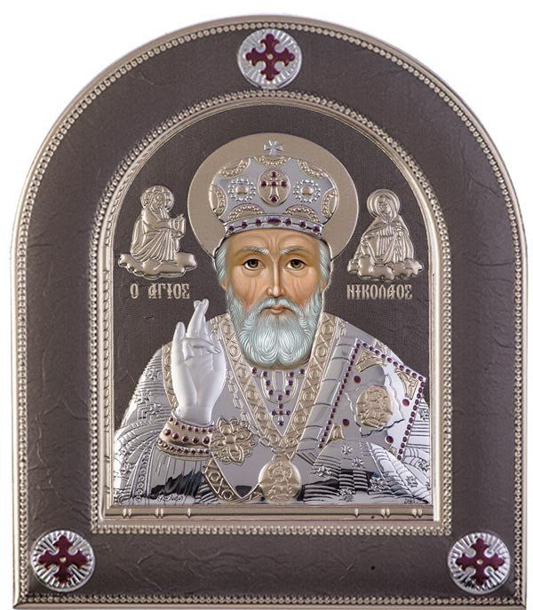 Saint Nicholas Silver Greek Orthodox Icon, Grey 25.5x30.4cm