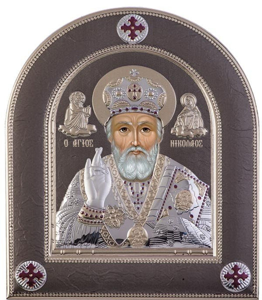 Saint Nicholas Silver Greek Orthodox Icon, Grey  - Made in Greece Άγιος Νικόλαος