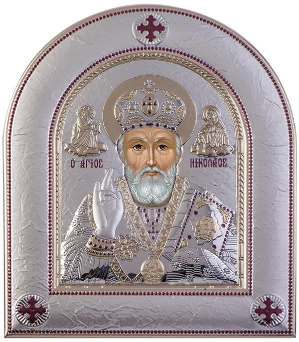 Saint Nicholas Silver Greek Orthodox Icon, Silver  33x39cm