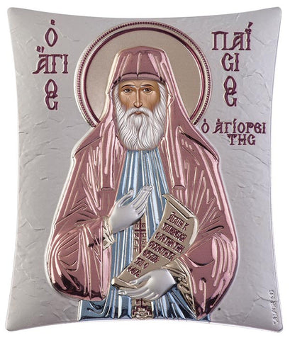Saint Paisios of Mount Athos Greek orthodox prayer Icon, blue and red