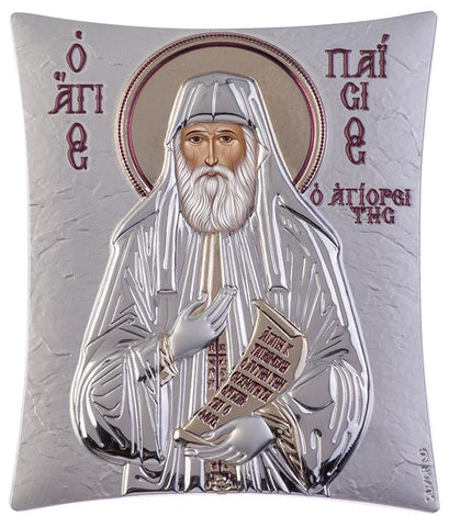 Saint Paisios of Mount Athos Greek orthodox prayer Icon, Silver