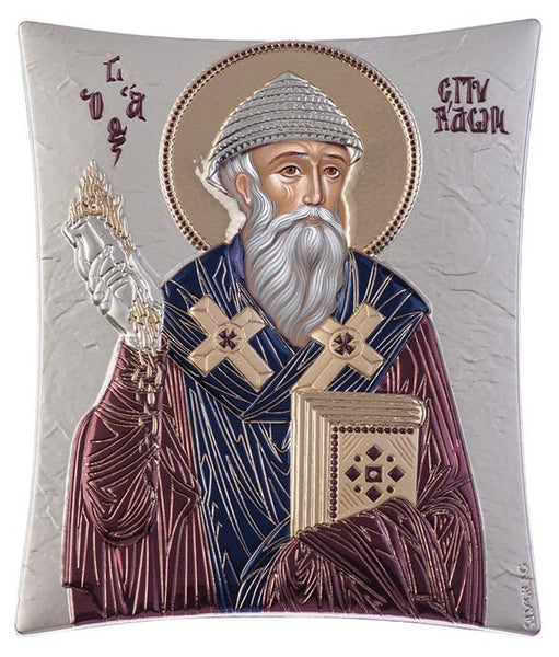 Saint Spyridon, Orthodox Religious iconography, burgundy 11.8x 14.6cm