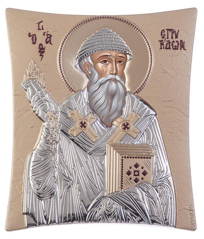 Saint Spyridon, handcrafted holy Greek icons, gold 20.6x25.5cm
