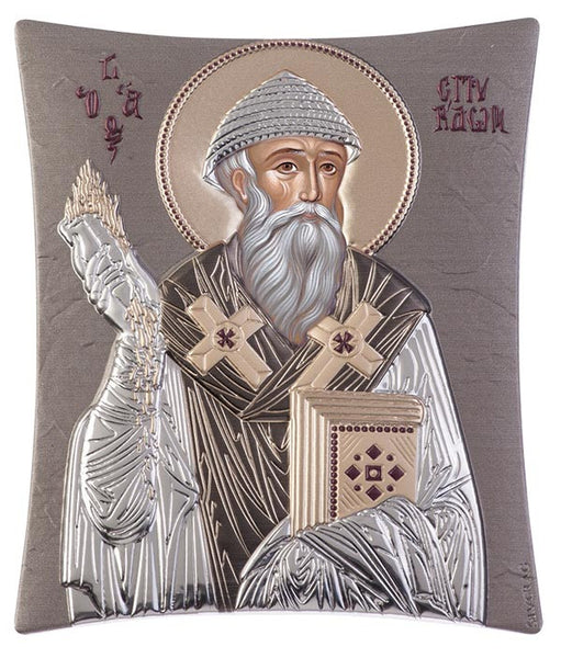 Saint Spyridon, handcrafted holy Greek icons, grey 20.6x25.5cm