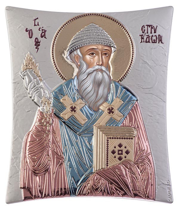 Saint Spyridon, handcrafted holy Greek icons, blue and red 20.6x25.5cm