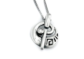 greek key pendant, meander necklace, fine silver pendant
