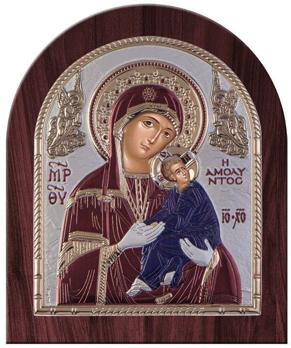 Virgin Mary Amolyntos Silver Greek Orthodox Icon, Burgundy 26.2x32.1cm