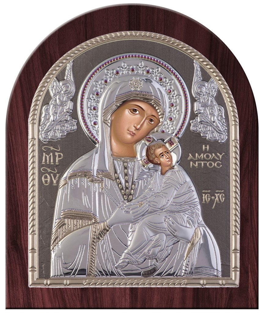 Virgin Mary Amolyntos Silver Greek Orthodox Icon, Grey 26.2x32.1cm