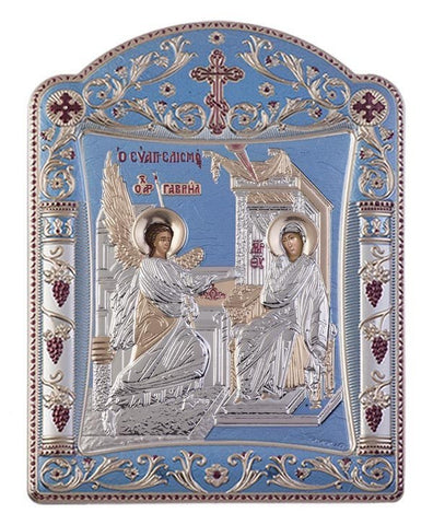 Virgin Mary Annunciation Greek Orthodox Silver Icon, Tiel Blue 11.3 x 15.2cm