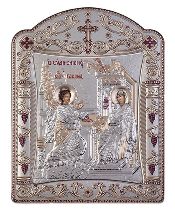 "Virgin Mary Annunciation Silver Greek Orthodox Icon, Silver Made in Greece  ""Ευαγγελισμός της Θεοτόκου"""