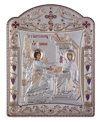 Virgin Mary Annunciation Greek Orthodox Silver Icon, Silver 11.3 x 15.2cm