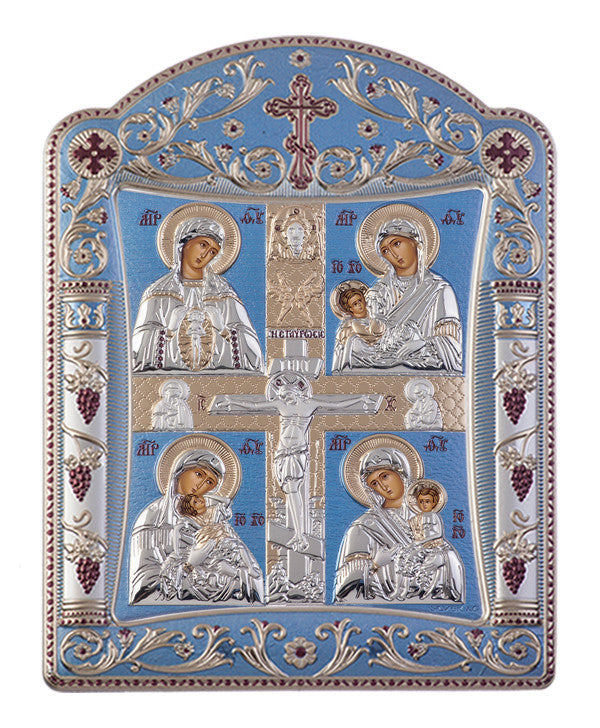 Virgin Mary Motherhood, Greek orthodox iconography, Blue Ciel 16.7 x 22.4 cm