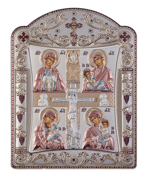 Virgin Mary Motherhood, handcrafted Silver Greek prayer Icons, Red & Blue 11.3x15.2cm