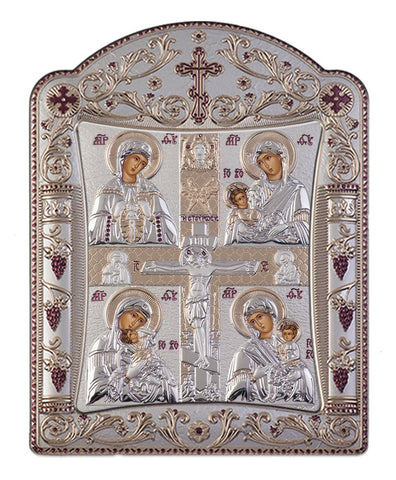 Virgin Mary Motherhood handcrafted Silver Greek prayer Icons 11x15cm