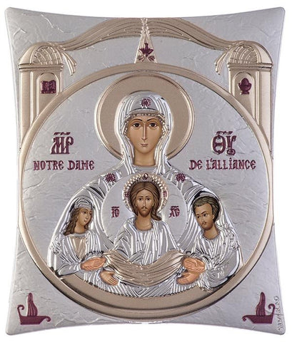 Notre Dame D'Alliance Silver Greek Orthodox Icon, Silver