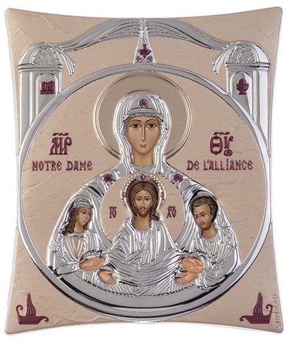 Notre Dame D'Alliance Silver Greek Orthodox Icon, Gold