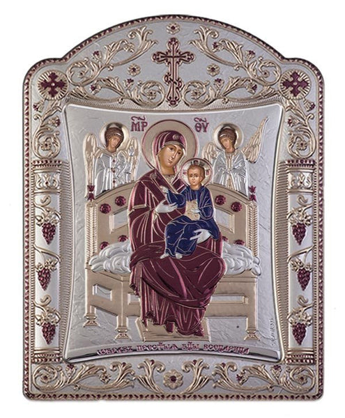 Virgin Mary Pantanassa Greek Orthodox Silver Icon Burgundy 11x15cm
