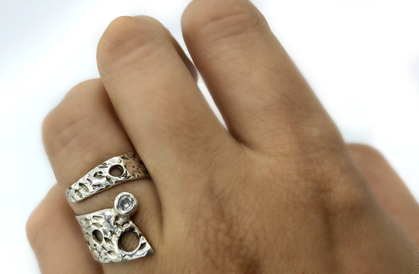 Abstract silver ring with zircon stone, silver adjustable ring, modern ring