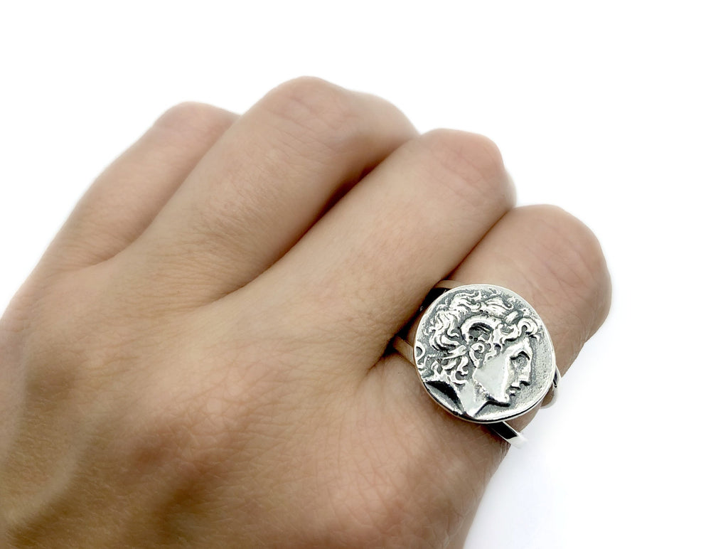 Alexander the Great silver ring wide ring