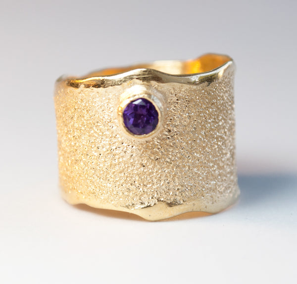 Gold plated Amethyst Wide Silver ring, Amethyst Solitaire ring foster texture